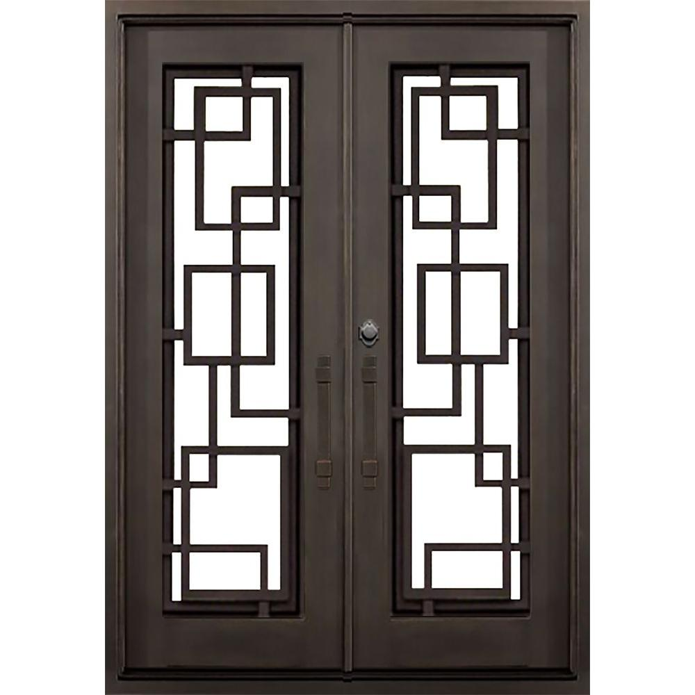ALLURE IRON DOORS & WINDOWS 64 in. x 82 in. St. Andrews Dark Bronze Modern Full Lite Painted Wrought Iron Prehung Front Door (Hardware Included)