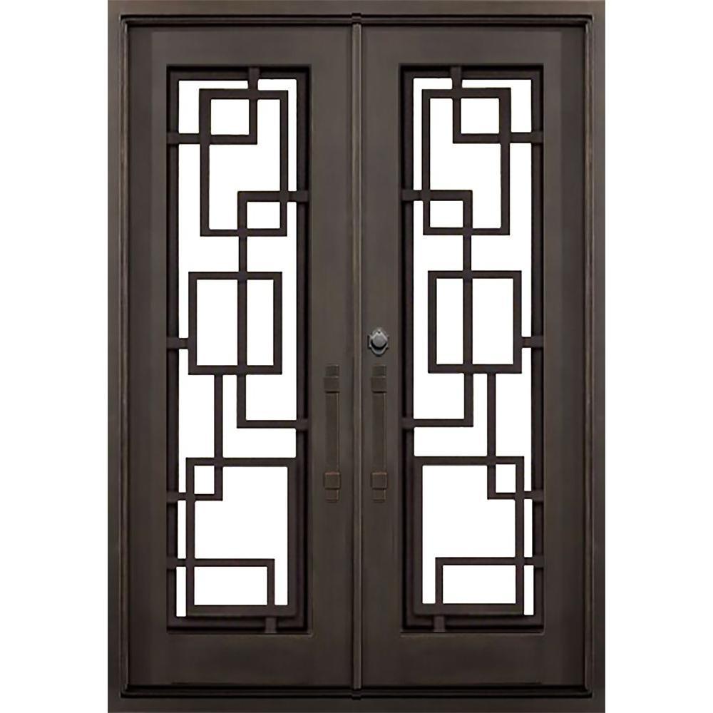 ALLURE IRON DOORS & WINDOWS 72 in. x 82 in. St. Andrews Dark Bronze Modern Full Lite Painted Wrought Iron Prehung Front Door (Hardware Included)