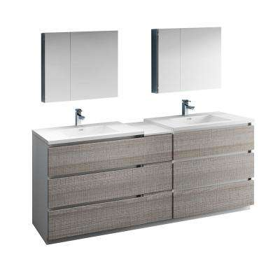 Lazzaro 84 in. Modern Double Bathroom Vanity in Glossy Ash Gray, Vanity Top in White with White Basins,Medicine Cabinet