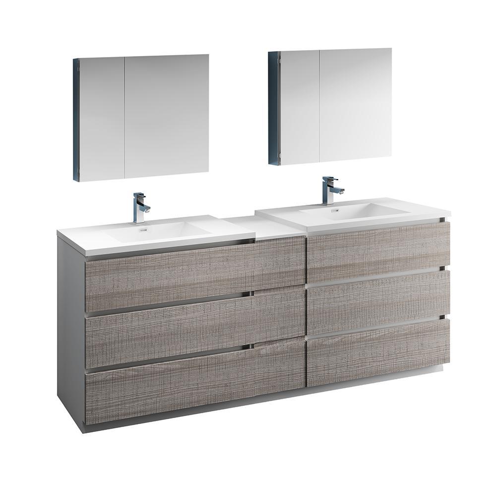Fresca Lazzaro 84 In Modern Double Bathroom Vanity Glossy Ash Gray Top