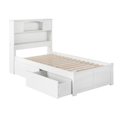 Newport White Twin Platform Bed with Flat Panel Foot Board and 2-Urban Bed Drawers