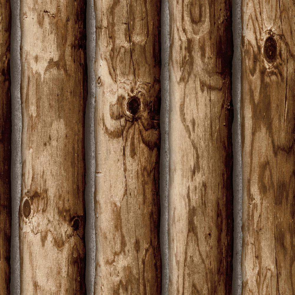 RoomMates 28.18 sq. ft. Cabin Logs Peel and Stick Wallpaper