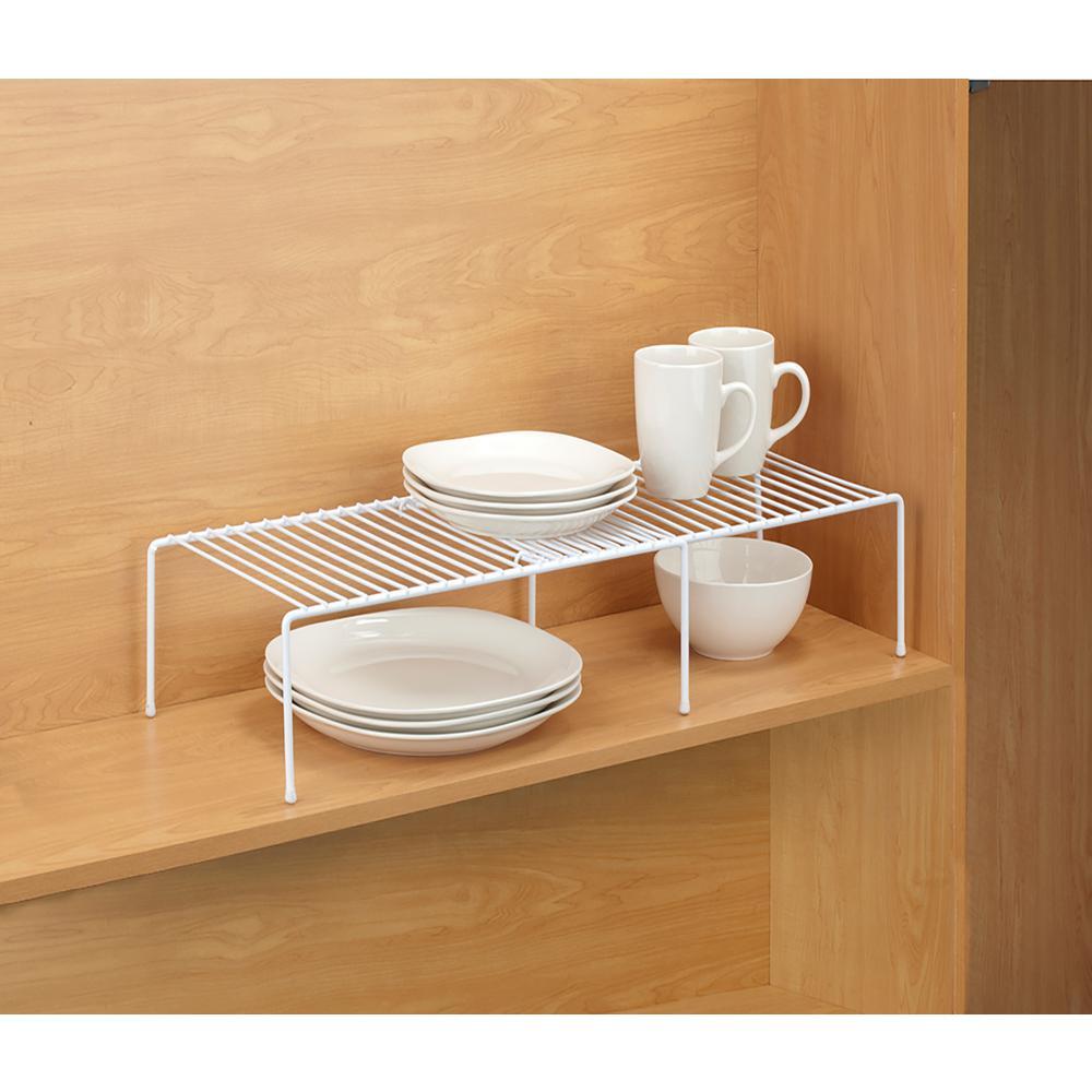 Kitchen Details Expandable White Cabinet Shelf Organizer 4179 The Home Depot