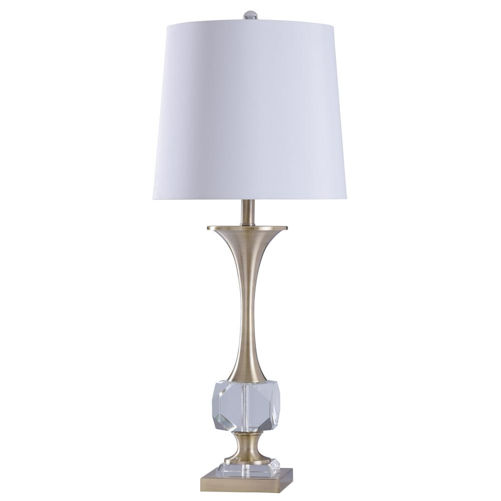 StyleCraft 34 in. Crystal/Polished Nickle Table Lamp with White Styrene Shade