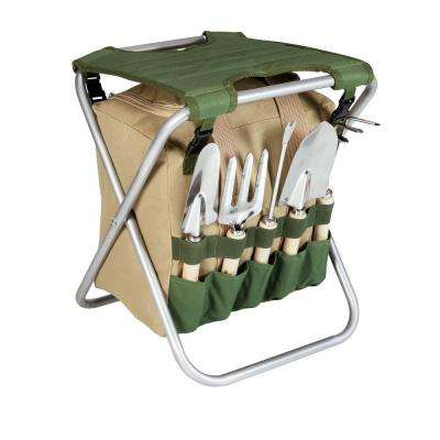 Olive Green and Tan Gardener Folding Seat with Detachable Polyester Storage Tote