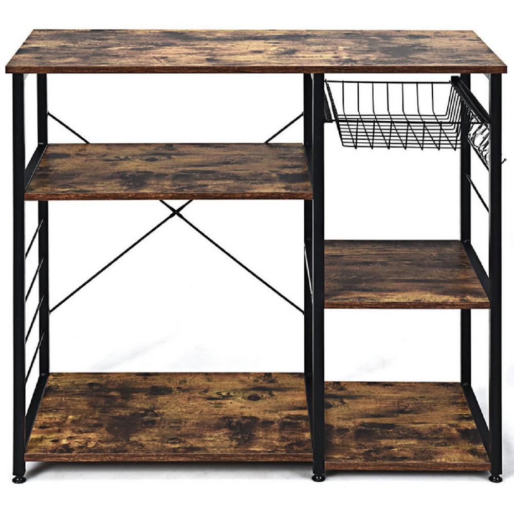 Wood Kitchen Baker's Rack Utility Storage Shelf with 6-Hooks