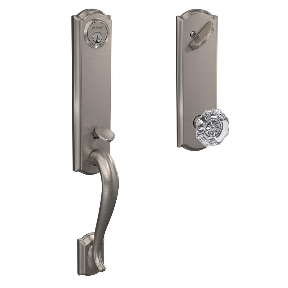 Camelot Satin Nickel Single Cylinder Deadbolt with Alexandria Glass Knob Door Handleset
