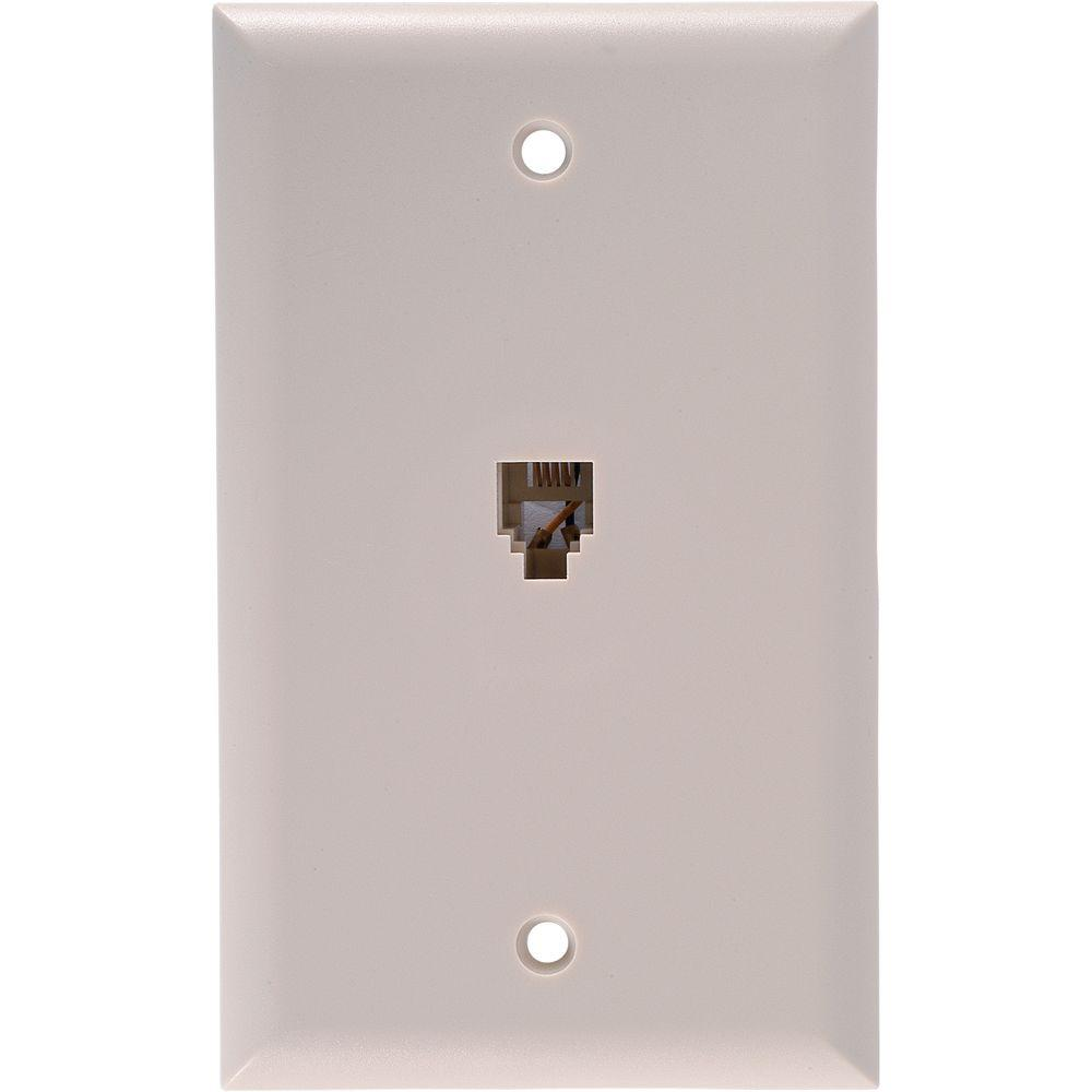 GE 1-Line Cord Wall Jack Wall Plate-almond