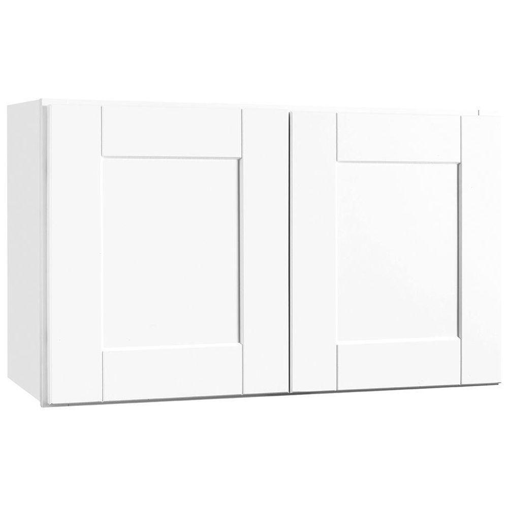 Shaker Assembled 30x18x12 in. Wall Bridge Kitchen Cabinet in Satin White