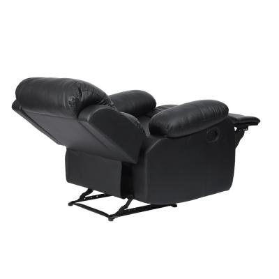Classical 35.8 in. Black Solid Faux Leather Padded 1-Seat Bridgewater Sofa with Reclining