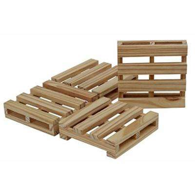 4-Piece Brown Durable Wooden Handmade Pallet Bar Coasters