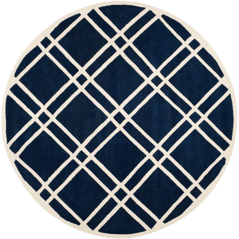 Safavieh Chatham Dark Blue/Ivory 7 ft. x 7 ft. Round Area Rug