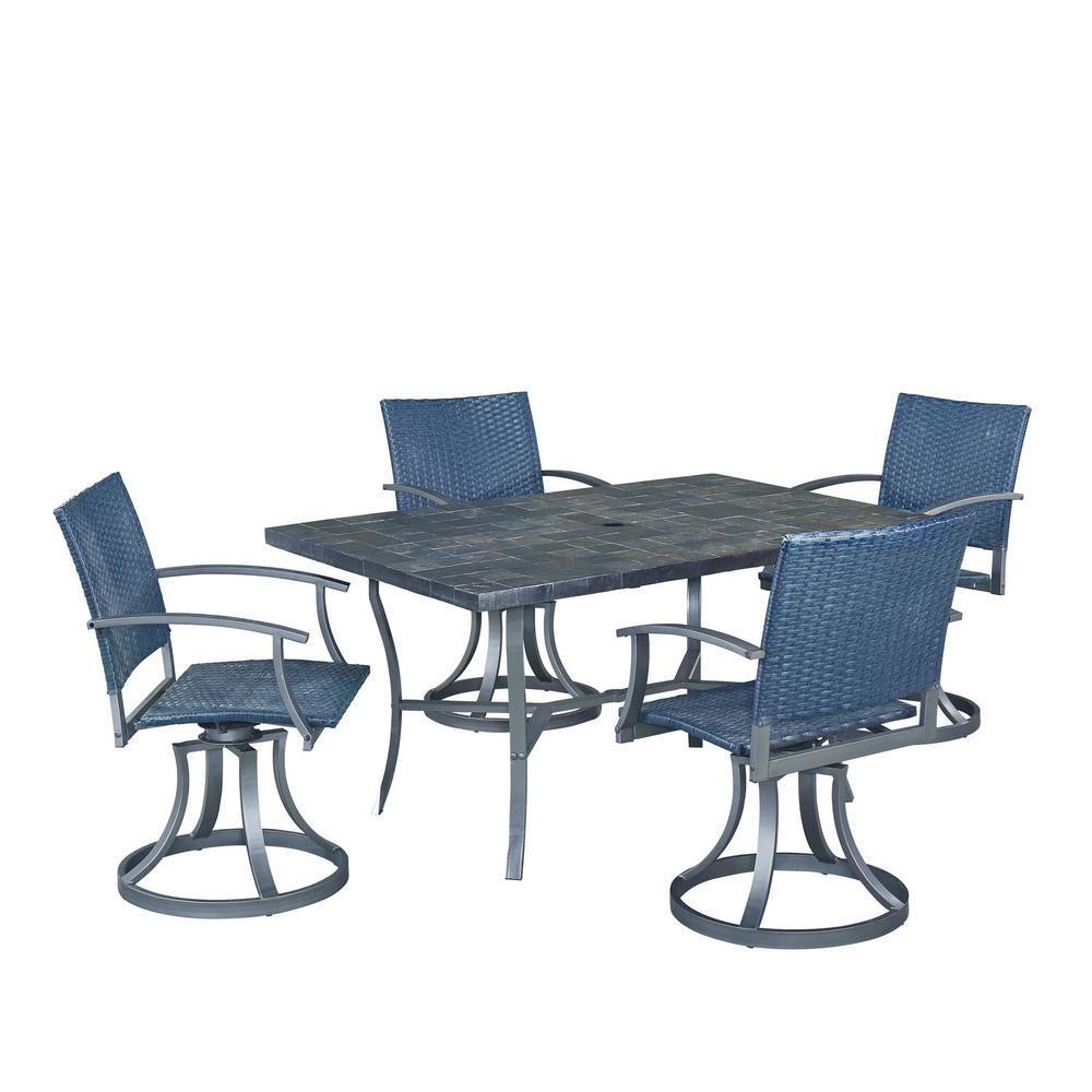 Stone Veneer 5-Piece Patio Dining Set