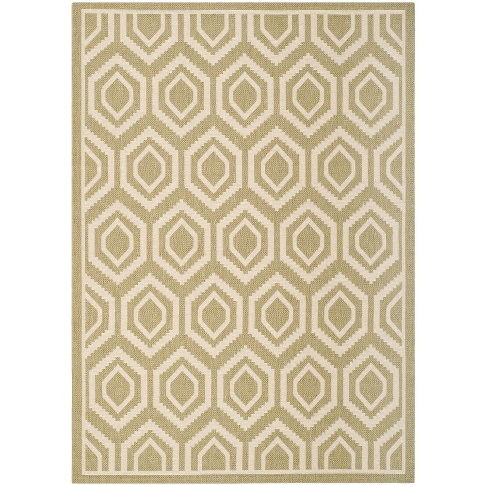 Courtyard Green/Beige 8 ft. x 11 ft. Indoor/Outdoor Area Rug