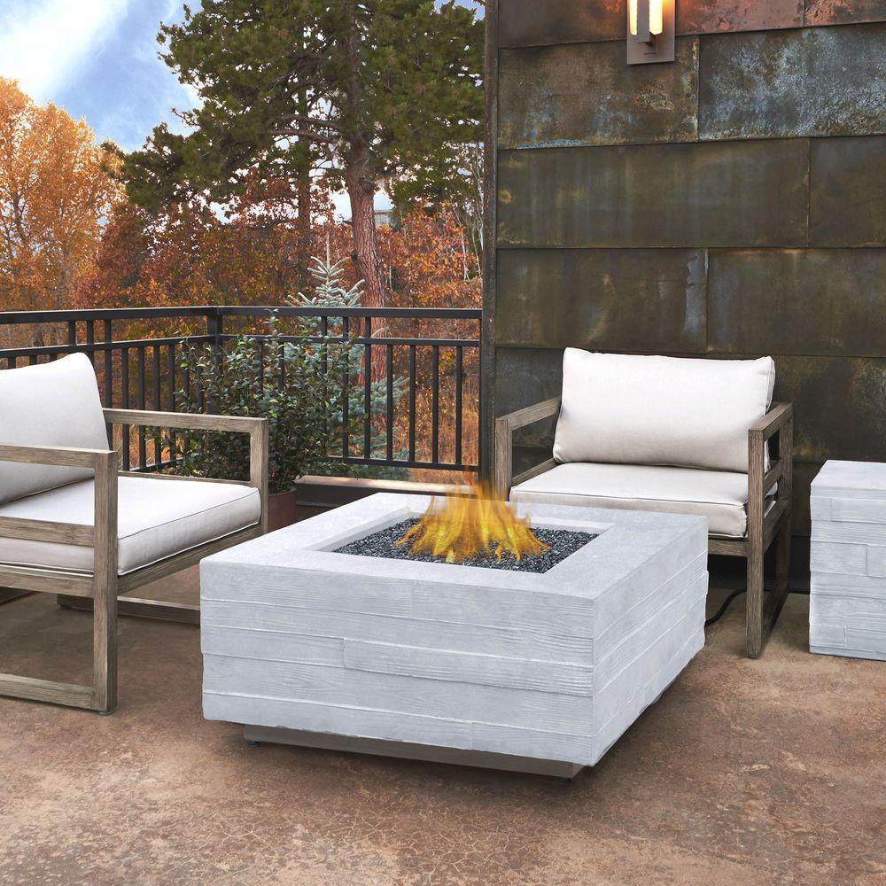 Board Form 37 in. Fiber-Concrete Square Propane Fire Table in Light Gray Faux Wood