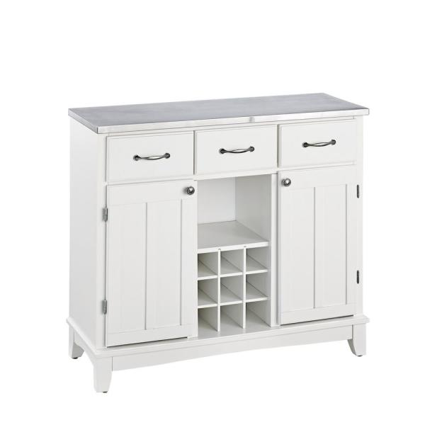 Home Styles White And Stainless Steel Buffet With Wine