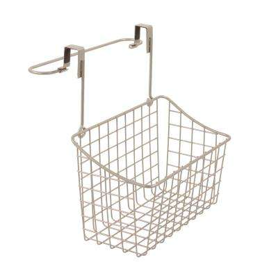 Grid Over the Cabinet Towel Bar and Medium Basket in Satin Nickel