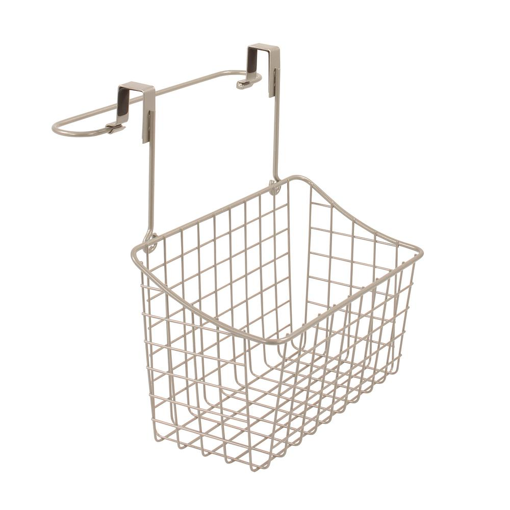 Grid Over the Cabinet Towel Bar and Medium Basket in Satin