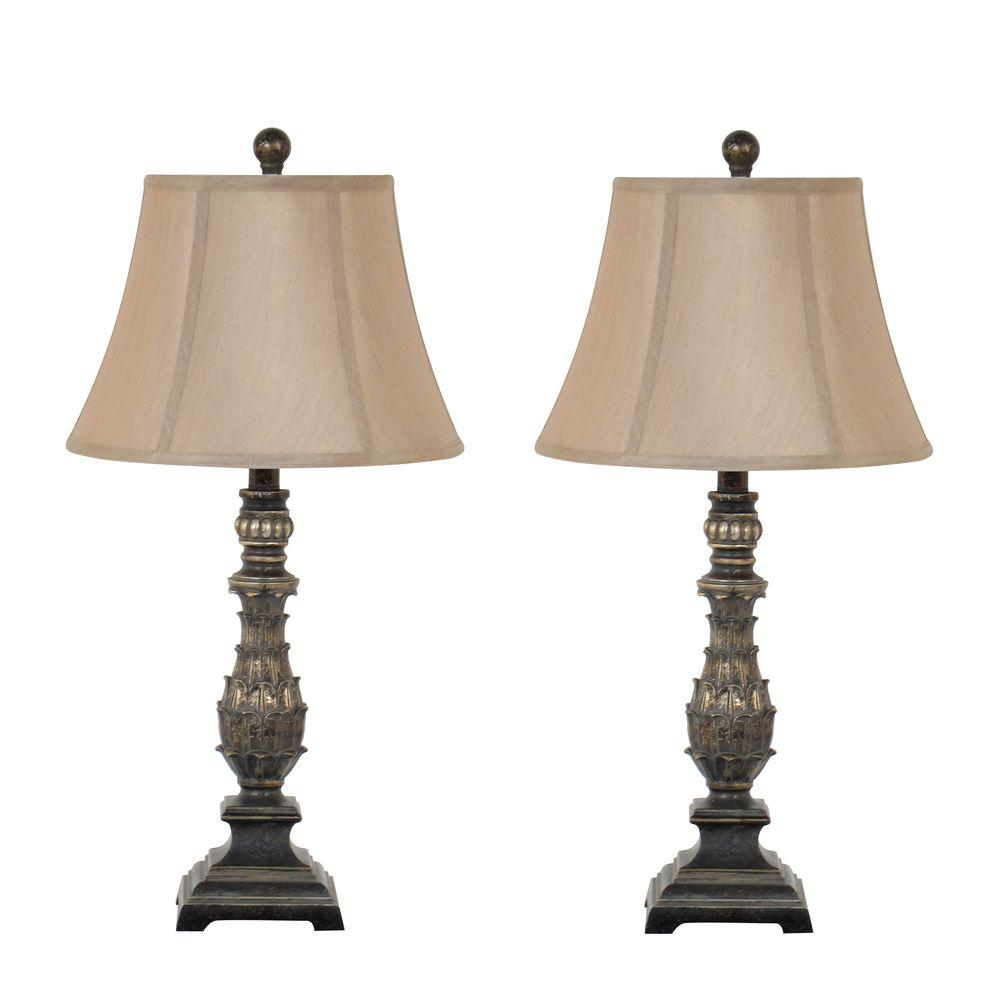 27 in antique gold table lamp set with fabric bell shade. Black Bedroom Furniture Sets. Home Design Ideas
