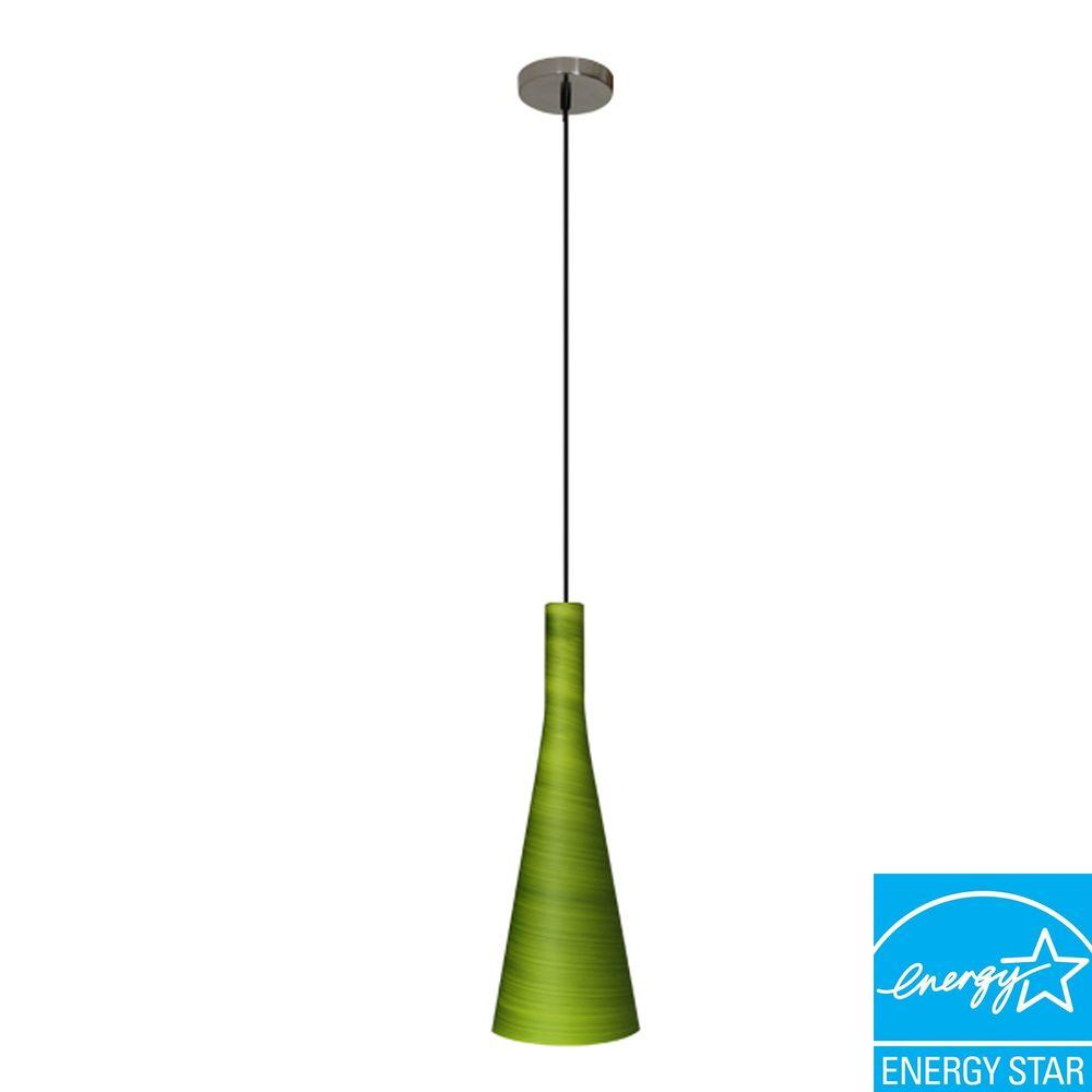 Efficient Lighting Modern Series 1-Light Ceiling Mount Pendant Fixture with Green Glass Shade and GU24Energy StarQualifiedBulb-DISCONTINUED
