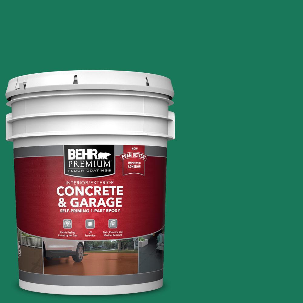 5 gal. #OSHA-2 OSHA SAFETY GREEN 1-Part Epoxy Satin Interior/Exterior Concrete and Garage Floor Paint