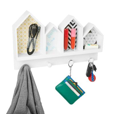 14.96 in. W x 9.25 in. D White Door or Wall Mount Coat and Key Rack with 4-Storage Compartments