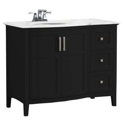 Winston 42 in. Rounded Front Bath Vanity in Black with Marble Extra Thick Vanity Top in Bombay White with White Basin