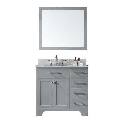 36 in. D Single Sink Bathroom Vanity in Taupe Grey with Vanity Top in Carrara White Marble and Mirror Set