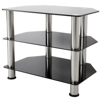 24 in. Black and Chrome Glass TV Stand Fits TVs Up to 32 in. with Open Storage