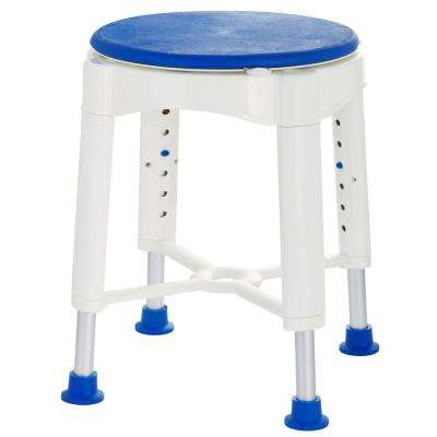 18.7 in. W x 18.7 in. D Bathroom Safety Rotating Shower Stool in Blue and White