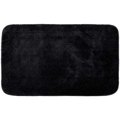 Traditional Black 30 in. x 50 in. Plush Nylon Bath Mat