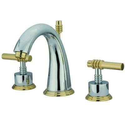 Milano 8 in. Widespread 2-Handle Mid-Arc Bathroom Faucet in Polished Chrome and Polished Brass
