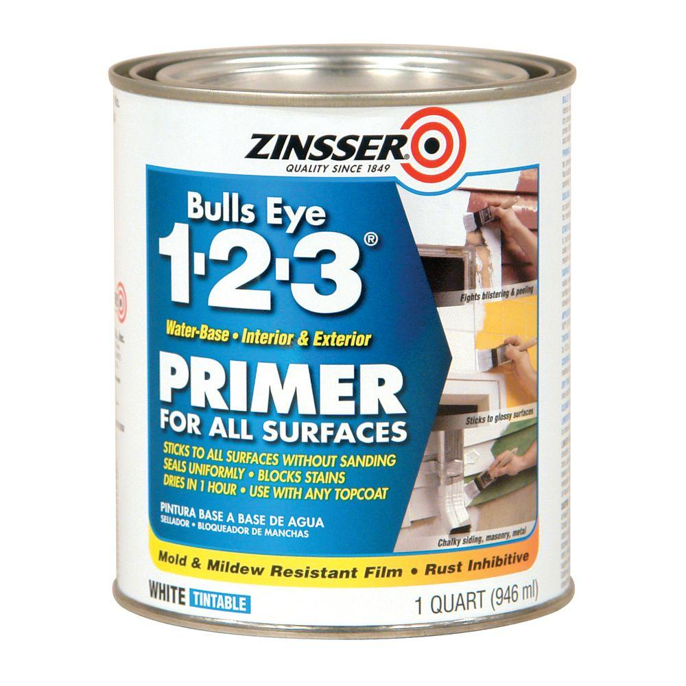 1-qt. Bulls Eye 1-2-3 1-qt.White Water Based Interior/Exterior Primer and Sealer