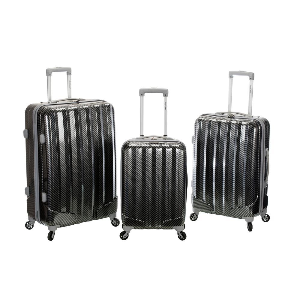 Rockland Metallic 3-Piece Hardside Spinner Luggage Set, Fiber