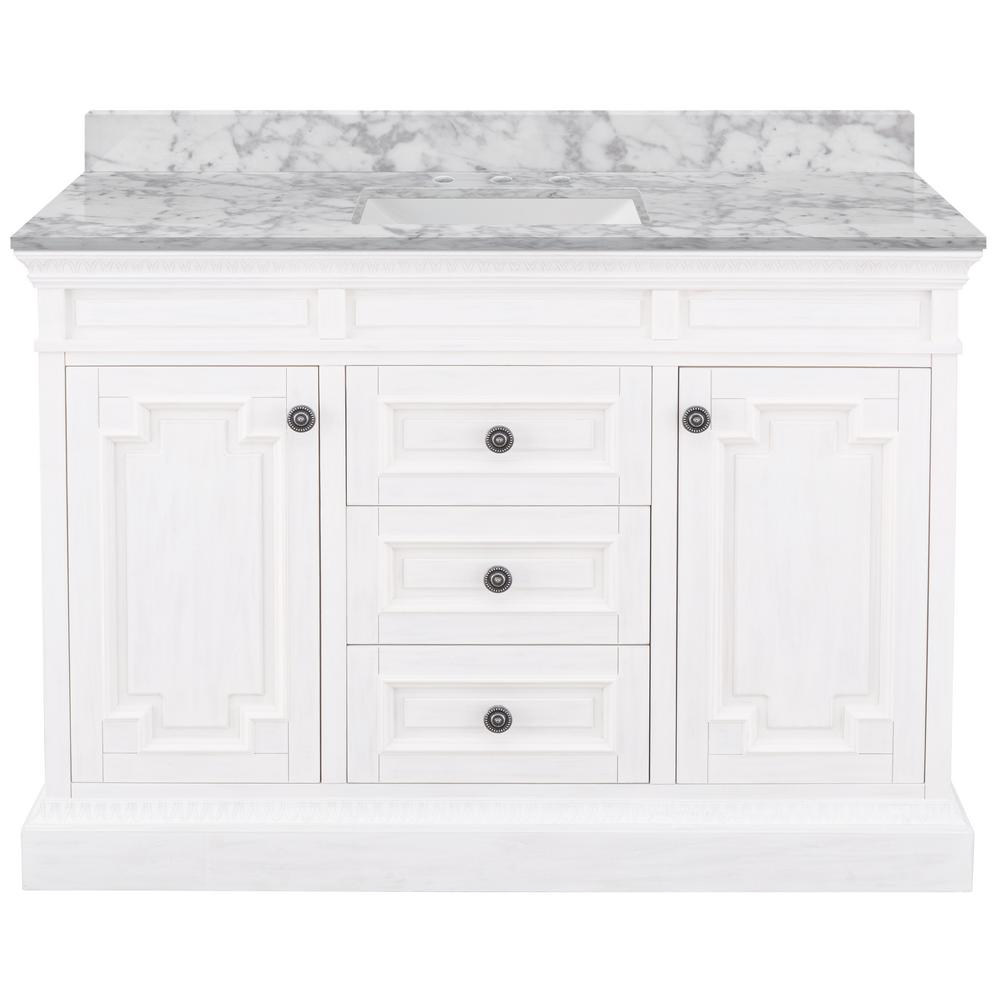 Home Decorators Collection Cailla 49 in. W x 22 in. D Bath Vanity in White Wash with Marble Vanity Top in Carrara with White Sink