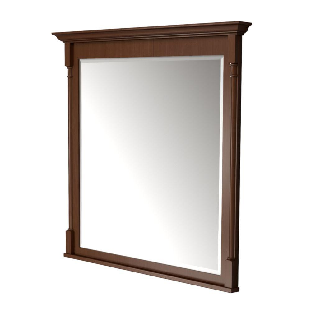 KraftMaid 42 in. L x 42 in. W Framed Wall Mirror in Autumn Blush Stain