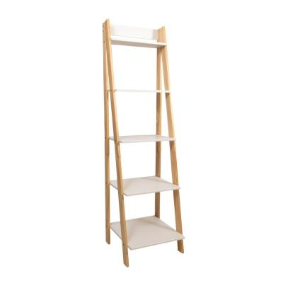 62.2 in. Natural/White Wood 5-shelf Ladder Bookcase with Open Back