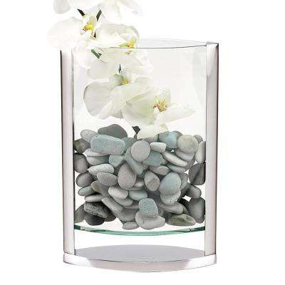 The Donald 14 in. Glass and Non Tarnish Aluminum Pocket Vase