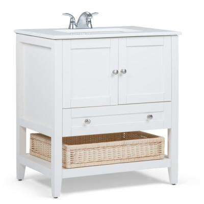 Cape Cod 30 in. Bath Vanity in Soft White with Quartz Marble Vanity Top in White with White Basin