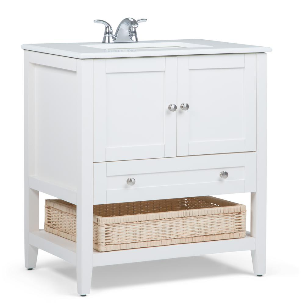 Simpli Home Cape Cod 30 in. W Vanity in Off White with Quartz Marble ...