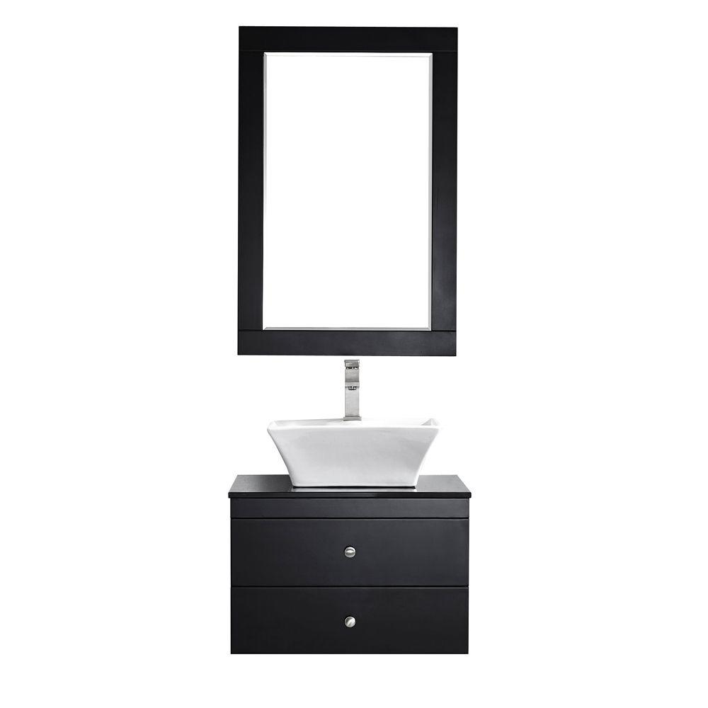 Vinnova Ravenna 24 in. W x 22 in. D x 16 in. H Vanity in Espresso with Glass Vanity Top in Black with Basin and Mirror