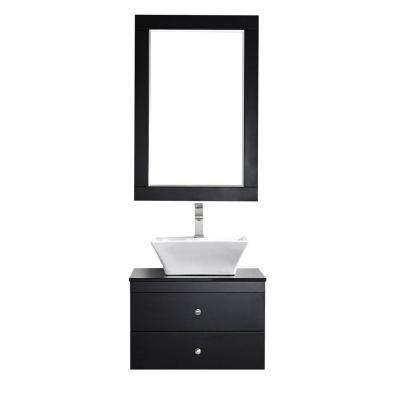 Ravenna 24 in. W x 22 in. D x 16 in. H Vanity in Espresso with Glass Vanity Top in Black with Basin and Mirror
