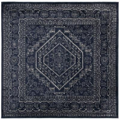 Adirondack Navy/Ivory 4 ft. x 4 ft. Square Area Rug