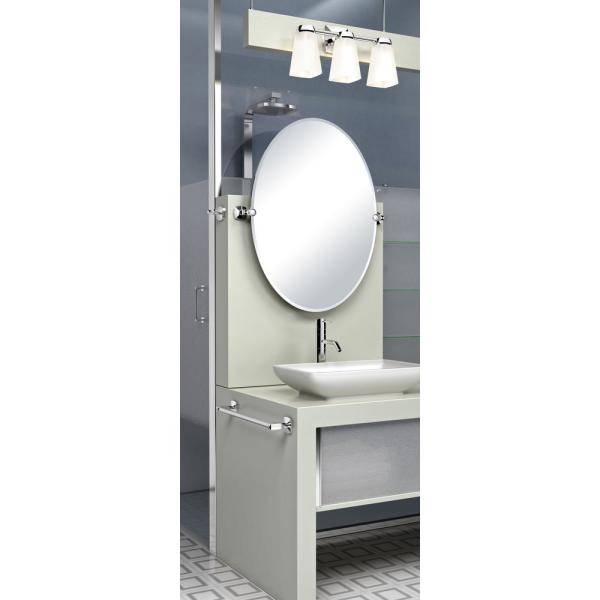 Single Rectangle Frameless Floating Mount in Satin Nickel x 28 in Mirror 32 in