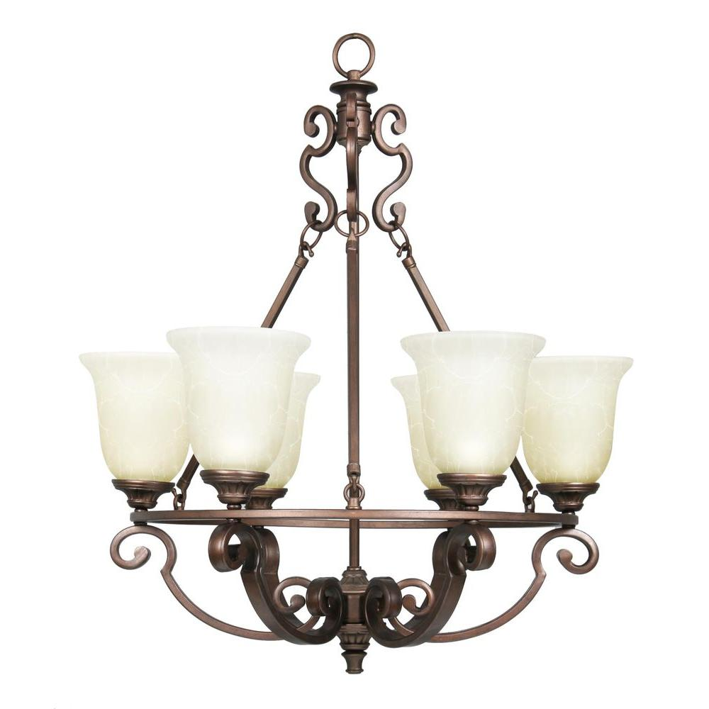 Home Decorators Collection Fairview 6 Light Heritage Bronze Chandelier With Glass Shades 14700