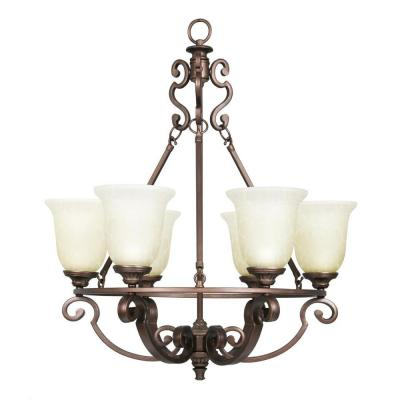 Fairview 6-Light Heritage Bronze Chandelier with Glass Shades