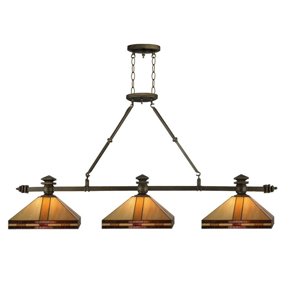 Dale Tiffany Mission 79 in. 3-Light Antique Brass Island Fixture