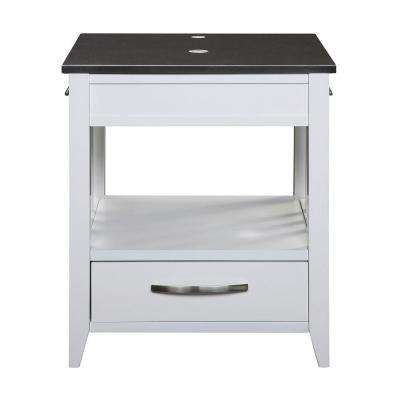 Ambrosia 24 in. W x 20 in. D x 28.50 in. H Vanity in White with Granite Vanity Top in Black