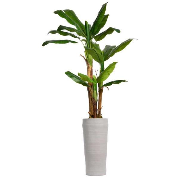 81 in. Tall Banana Tree Artificial Lifelike Decor with Burlap Kit and Fiberstone Planter
