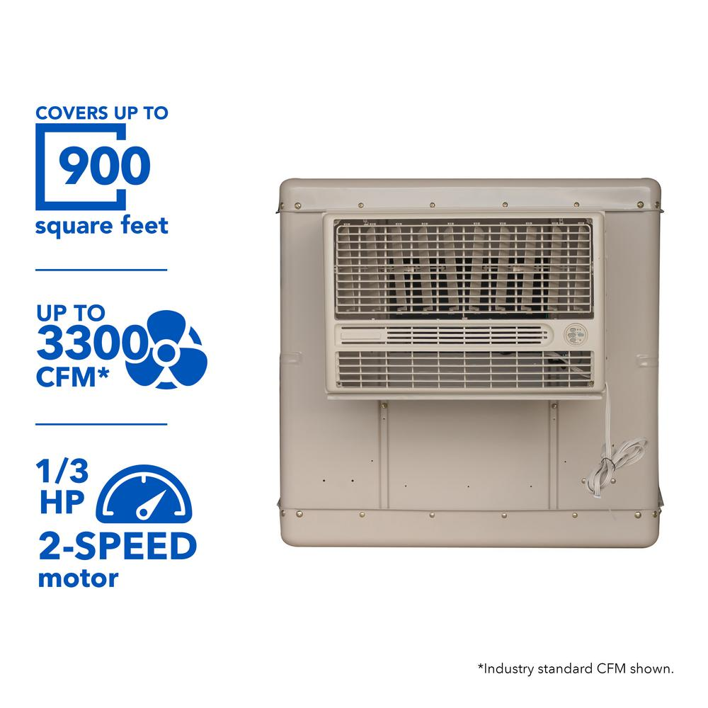 3300 CFM 2-Speed Window Evaporative Cooler for 900 sq. ft. (with Motor and Remote Control),  Beige/Ivory
